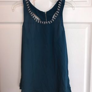 Teal racer back top with rhinestone trim